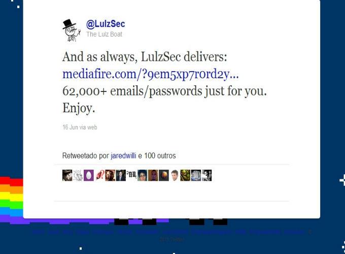 Tweet do LulzSec