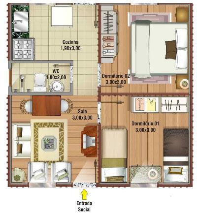Projeto de casa de madeira