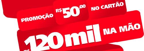 PROMOÇÃO R$ 50 NO CARTÃO, R$ 120 MIL NA MÃO - WWW.SANTANDER.COM.BR/50NOCARTAO120MILNAMAO